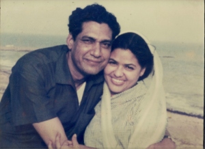 Newly weds at Karachi beach circa 1960s - Zakia & Sarwar