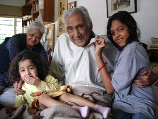 Minal and Maha with Dr Sarwar (Zakia in background), Jan 2009